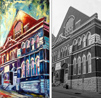 Painting of Mother Church of Country Music, Ryman Auditorium; Roy Laws art; Nashville, TN