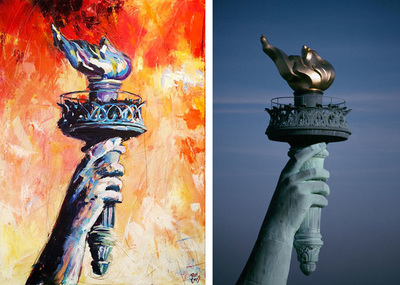 Painting of Statue of Liberty torch; Roy Laws art, Painter of Music, live entertainment