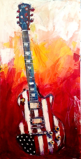 Live painting guitar with American flag; Roy Laws art, Painter of Music, live entertainment; Music City