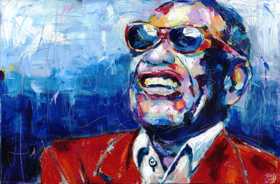 Portrait of Rhythm and Blues artist Ray Charles; Roy Laws art, Painter of Music, live entertainment
