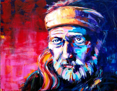 Portrait of Willie Nelson, Outlaw Country Music artist; Roy Laws art, Painter of Music, live entertainment