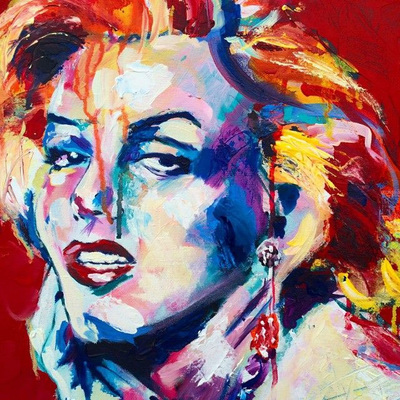 Portrait of Marilyn Monroe; Roy Laws art, Painter of Music, live entertainment