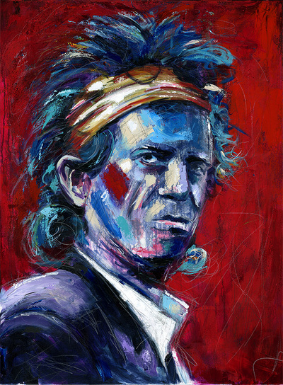 Portrait of Keith Richards of The Rolling Stones; Roy Laws art, Painter of Music, live entertainment