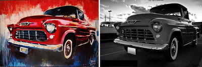 Mural of Chevy truck; Roy Laws art, Painter of Music, live entertainment; Nashville, TN