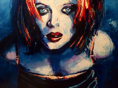 Portrait of Shirley Manson of the 90s alternative band Garbage; Roy Laws art, Painter of Music, live entertainment