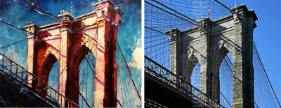 Painting of Brooklyn bridge, New York City; Roy Laws art, Painter of Music, live entertainment