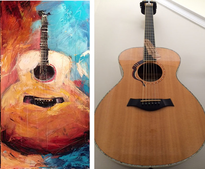 Painting of Liberty guitar; Roy Laws art, Painter of Music, live entertainment; Nashville, TN