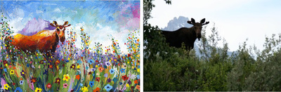 Painting of Grand Tetons flowers; Roy Laws art, Painter of Music, live entertainment