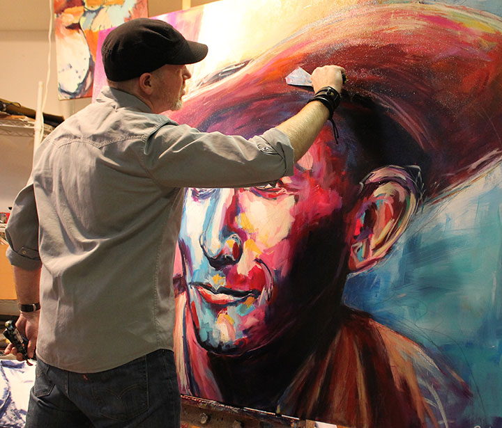 Live painting portrait of country music legend Hank Williams; Roy Laws art
