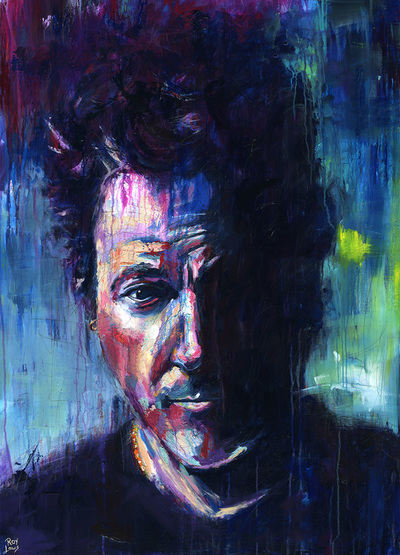 Portrait of Bruce Springsteen; Roy Laws art, Painter of Music, live entertainment