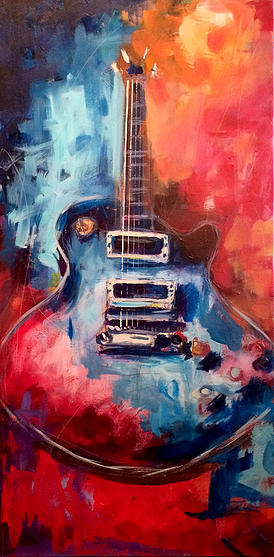 Roy Laws art, Painter of Music, live entertainment; live painting guitar