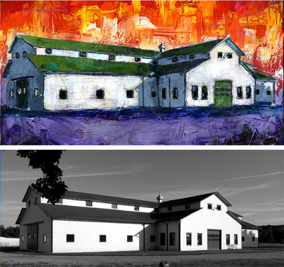 Painting of Harlinsdale barn, home of Pilgrimage; Roy Laws art, live entertainment