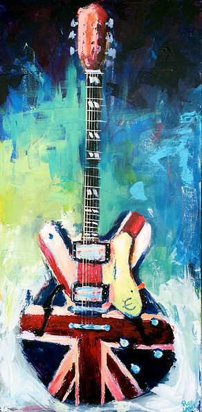 Epiphone Supernova Union Jack guitar painting by Roy Laws, Painter of Music