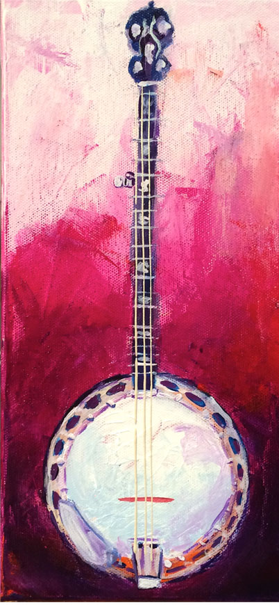Live painting banjo; Roy Laws art, Painter of Music, live entertainment; Music City