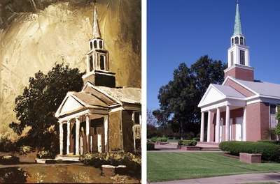 Painting of a church in Franklin, TN; Roy Laws art, Painter of Music, live entertainment