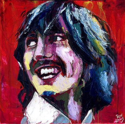 Portrait of George Harrison from The Beatles; Roy Laws art, Painter of Music, live entertainment
