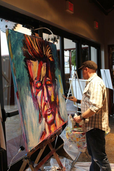 Roy Laws art, Painter of Music, live entertainment at fundraisers; portrait of David Bowie