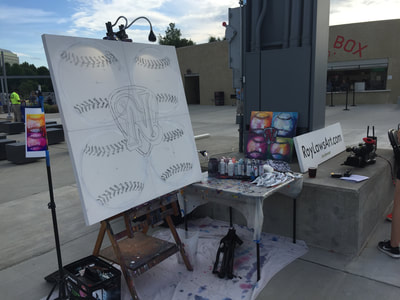Roy Laws art, Painter of Music, live entertainment at athletic events; Nashville Sounds baseball game