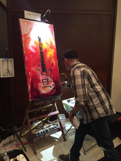 Roy Laws art, Painter of Music, live entertainment at fundraisers; guitar painting