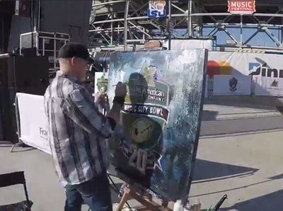 Roy Laws art, Painter of Music, live entertainment at athletic events; Music City Bowl painting