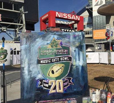Roy Laws art, Painter of Music, live entertainment at athletic events; Music City Bowl live painting