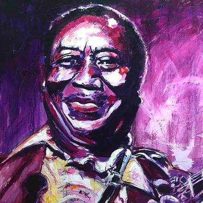 Portrait of blues singer, songwriter, and musician Muddy Waters; Roy Laws art, Painter of Music, live entertainment
