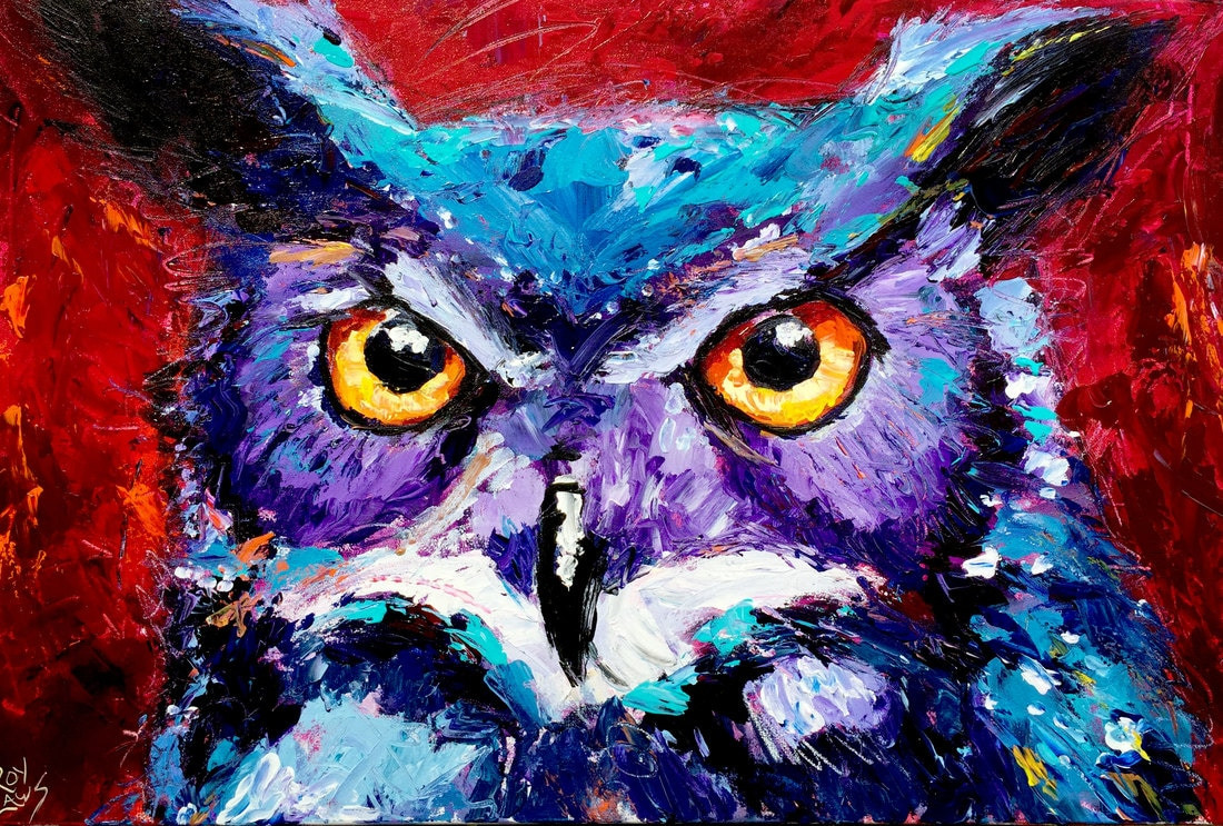 Owl painting by Roy Laws, from Anthony Adams and the Nite Owls album release party