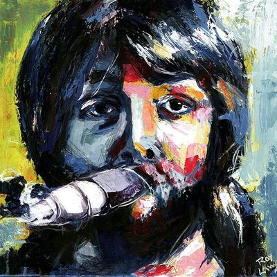 Portrait of young Paul McCartney of The Beatles; Roy Laws art, live entertainment
