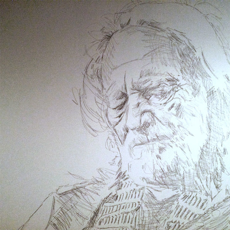 Sketch of Willie Nelson to paint during Pilgrimage Festival; Roy Laws art, live painting