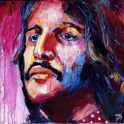 Portrait of Ringo Starr of The Beatles; Roy Laws art, Painter of Music, live entertainment
