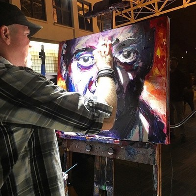 Roy Laws art, Painter of Music, live entertainment; live painting a portrait of Jay-Z; The Carters