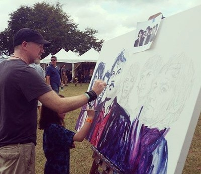 Roy Laws art, Painter of Music, live entertainment; live painting at Pilgrimage Music and Cultural Festival