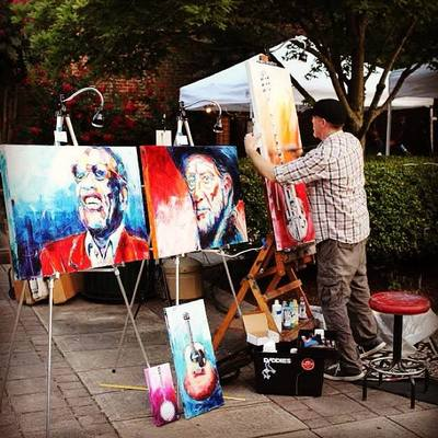 Roy Laws art, Painter of Music, live entertainment; live painting guitar; Country Music artist Willie Nelson; Ray Charles
