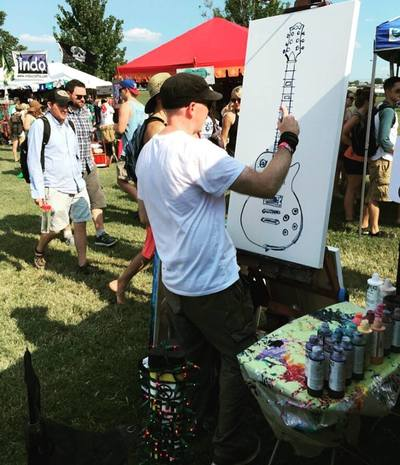 Roy Laws art, Painter of Music, live entertainment; live painting at Pilgrimage Music Festival in Franklin, TN; Music City