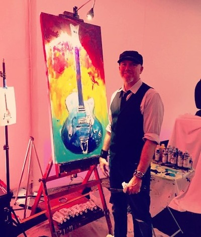 Roy Laws art, Painter of Music, live entertainment; live painting guitar at Nashville fundraiser