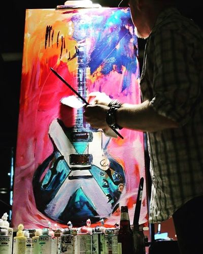 Roy Laws art, Painter of Music, live entertainment; live painting guitars; Music City