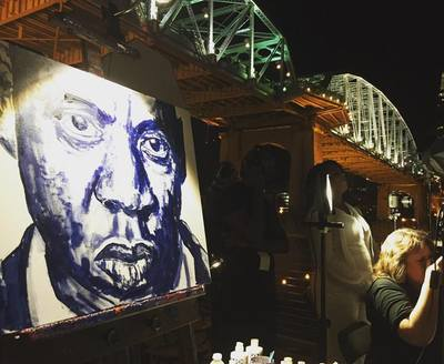 Roy Laws art, Painter of Music, live entertainment; live painting a portrait of Jay-Z in downtown Nashville; Music City