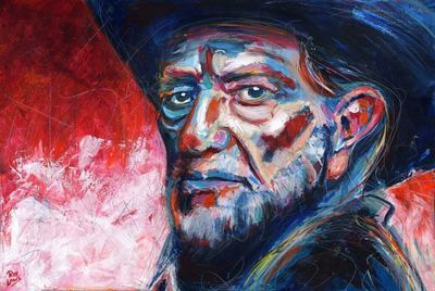 Portrait of Outlaw Country Music artist Willie Nelson; Roy Laws art, Painter of Music, live entertainment;